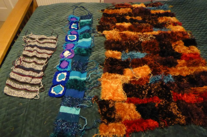 A whole bumch of unfinished knitting and crochet projects.
