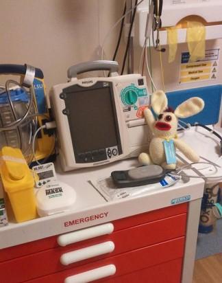 He's learned to use the defibrillator! ( I couldn't stop him pressing the shock button!)