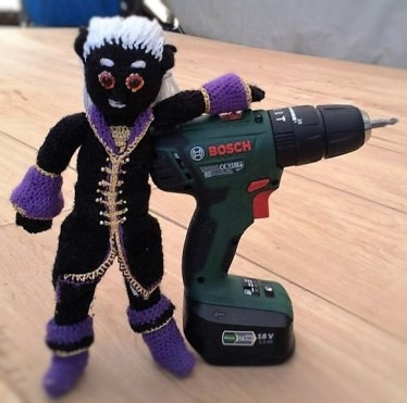 He has a gleam in his eye now he's got his hands on power tools.