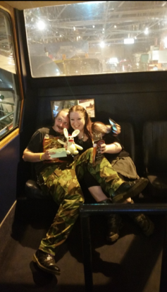 Because yes, the museum allowed him and his drunken friends to sit, drink beer and misbehave in The Pope Mobile itself. He was a very excited little bunny!