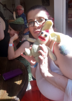 Arrests and attacks over, Bananas Bunny retired to his familiar stamping ground of the pub, where he had a late lunch with his friend Kelly from The Misfits.