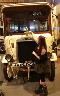 Having arrived at the British Leyland Commercial Vehicles Museum, and established that yes, you COULD drink beer and touch all their classic vehicles, Bananas Bunny wasted no time in installing himself on the Bonnet of a particularly fine vintage bus. He wishes modern buses looked as good!