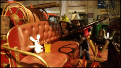 Bananas Bunny was surprised and excited by how hands-on the museum was prepared to allow inebriated bunny rabbits to be with their antique vehicles. He even got to sit behind the wheel as two dubious looking fire officers egged him on!