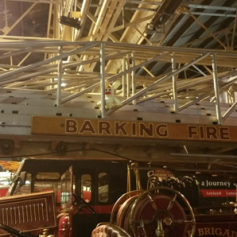 He hung around on the fire engine's ladder until he was told to get down by some amused museum workers.
