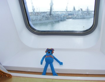 Here she is in her cabin as the ship leaves Portsmouth.