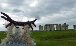 The moody skies don't bother Nimakim. He feels oddly at home at Stonehenge.