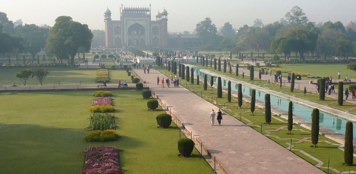 Inside the Taj Mahal's gardens.