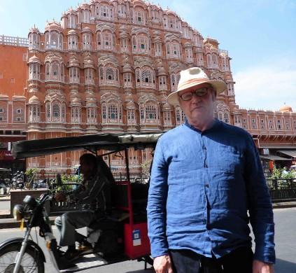 Michael in front of Hawa Mahal (the Palace of Winds) in Jaipur. The breezy screen front allowed the ladies of the royal household to watch street festivals unseen.