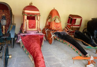 The Queen's carriages from the Victorian era at the Amber Fort. The Queen had to remain hidden.