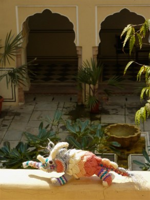 Festival relaxing at the Samode Haveli Hotel in Jaipur.