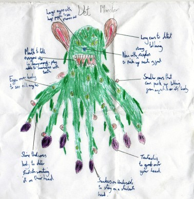 The winning design for a detention monster, as drawn by the kids he'll be watching.