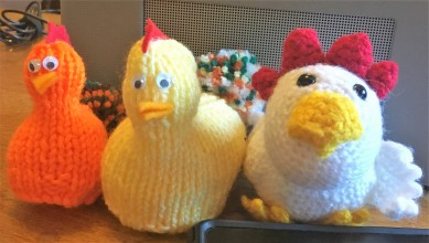 Ain't nobody here but us chickens. Babette isn't a hookist, she loves knitted creatures too.