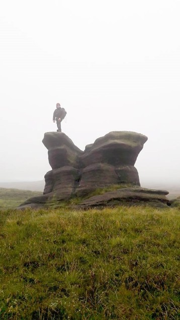 Having survived the waterfall of death, and hit the summit plateau of Kinder Scout, Seb couldn't resist climbing Pym's Chair in the hope that there was Pimms at the top. There wasn't. He was sad.