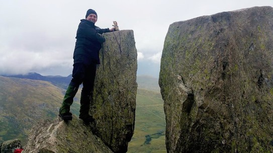 When you finally hit the summit of Tryfan, there are two massive boulders called Adam and Eve. It is traditional to jump between them. That's a several hundred metre vertical drop behind by the way - it doesn't do you any good to miss.