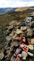 Meeko Marmot got the upper hand on the summit cairn of Kentmere Pike and Bananas Bunny swore revenge!