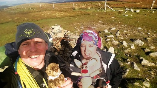 To prevent any further bother, we held both of them for the summit cairn of Harter Fell... Bunny has got himself very muddy and will need to go in the wash later.*