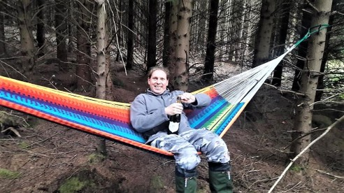 Nothing beats setting up your hammock in a deserted forest in the Brecon Beacons. Nothing that is, except having fizzy wine to go with the hammocking experience.