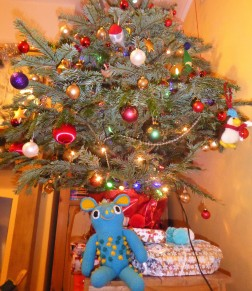 The tree gets a lot of its character from our friend Lorna's amazing crafty decorations.