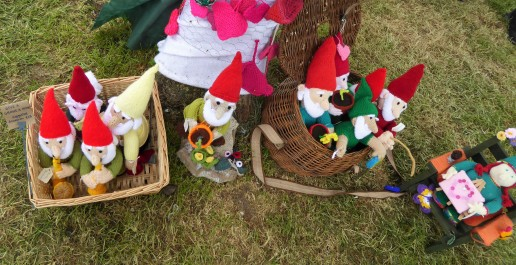 More knitted gnomes join the party. (Pattern by Alan Dart).