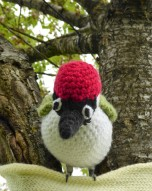 Mr. Bobbles spotted this beady-eyed woodpecker perched in a heart tree. (He was crocheted by John Pickles.)